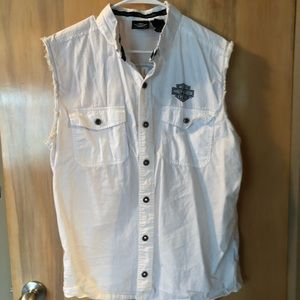 Harley-Davidson White CutOff Snap Button Shirt SzL